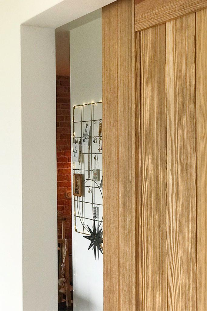 Holzschiebetür, Spiegeltür, Schiebespiegel, Schiebetürsystem, Metall Wand Organizer