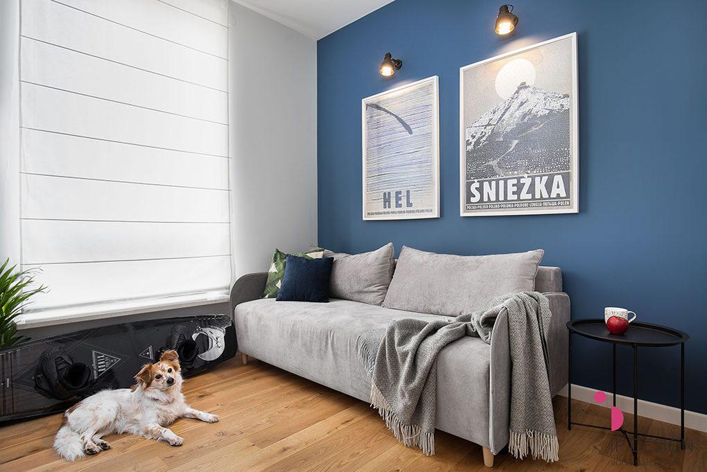 blaue Wand im Wohnzimmer, graues Sofa, große Plakate an blauer Wand, weiße und blaue Wände im Wohnzimmer, schwarzer Metall-Beistelltisch