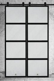 Doppel Schiebetür Komplettset mit Führungsschiene, Wandbefestigungselementen und Sicherheit Set
