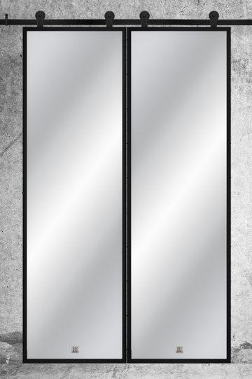 Doppel Schiebetür, Spiegel in einem Metallrahmen
