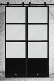 Doppel Schiebetür aus Stahl und Glas im Loft Stil