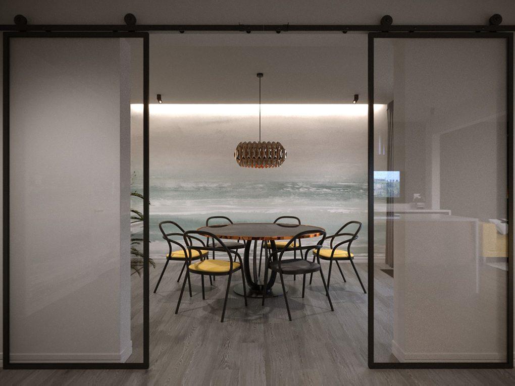 Doppel Glasschiebetür im Industriestil. Perfekt um Esszimmer und Küche.