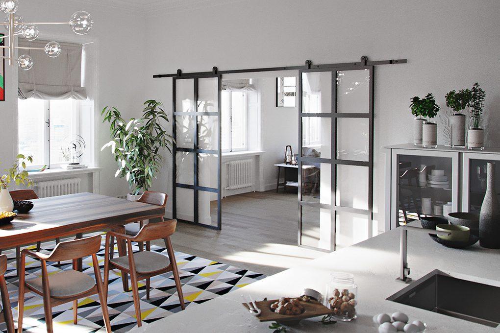 Doppelschiebetür aus Glas und Stahl sehen toll aus in einem offenen Wohnzimmer