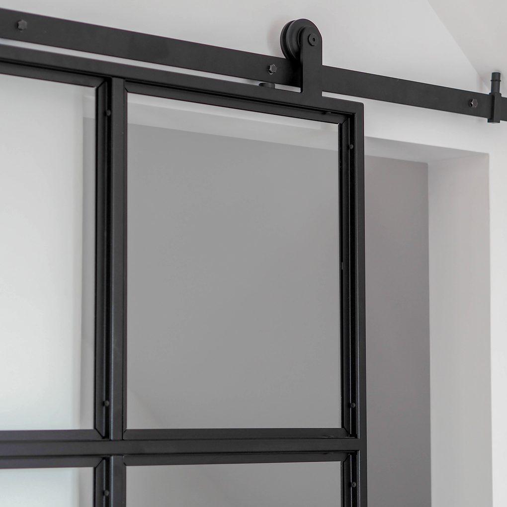 Doppelschiebetür Glas und Stahl