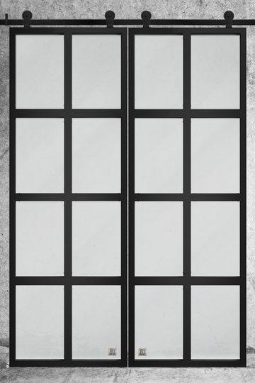 Doppelschiebetür Glas Stahl
