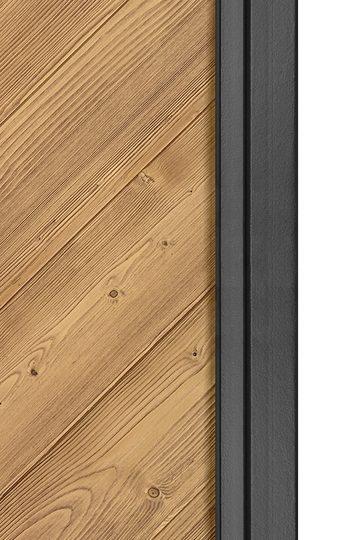 Schiebetür Industriedesign aus Holz und Metall